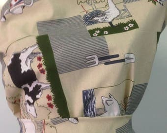 3 m cotton printed fabric cows and farm animals 1st choice