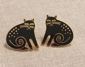 Laurel Burch Vintage Signed KESHIRE CAT Post Earrings - Dark Areas are from the camera