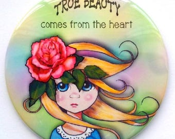 "Purse or Pocket Mirror, 3.5"", True Beauty Comes From the Heart, Big-Eyed Girl with Pink Rose, Whimsical Art, Handy Mirror in Organza Bag"