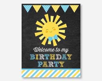 Instant Download, Sunshine Welcome Sign, Sunshine Birthday Sign, Little Sunshine Door Sign, You Are My Sunshine Printable,Chalkboard(CKB.05)