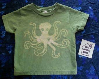 Green 2T Batik Octopus Tshirt