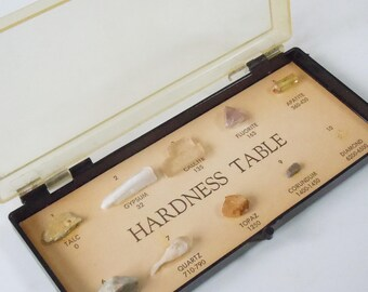 Hardness Table / Vintage Stone Chart / From Talc to Diamond / Mineral Hardness Table / Edmund Scientific Co