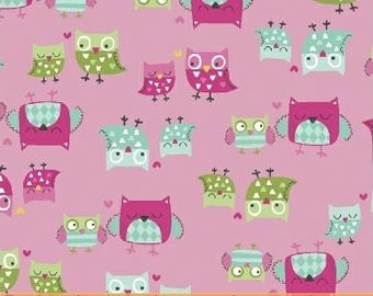 It's A Hoot - Pink Mother and Child Owl Fabric-Whistler Studios-Windham Fabrics - 100% cotton-by the half yard