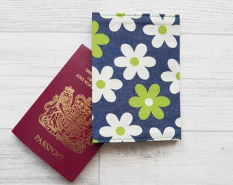 Denim Daisy Fabric Passport Cover, Floral Passport Holder, Travel Accessories, Gifts For Her, Mother's Day Gift, Floral Fabric Gifts