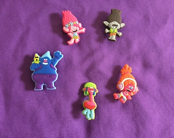 5-pc Trolls Shoe Charms for Crocs, Silicone Bracelet Charms, Party Favors, Jibbitz