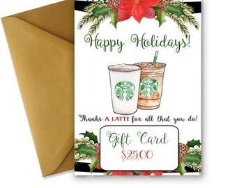 Christmas Coffee Gift Card, Thanks A Latte PRINTABLE Teacher Gift Card Holder, Starbucks, Coffee Ideas, Nurse Gift, Last Minute