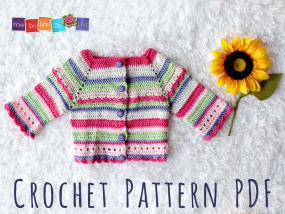 Striped Baby Cardigan For Girl, Baby Sweater Crochet Pattern ...