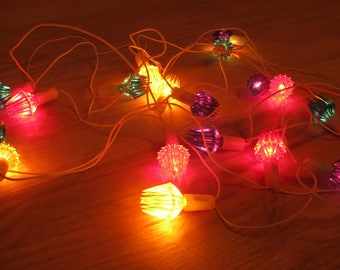 Vintage Electric garland, Christmas tree, Soviet Plastic light decoration, Home decor, Russian New Year, Holiday Light, USSR, 1970s-1980s