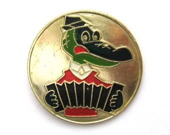Crocodile Gena with accordion, Character from soviet cartoon, Pin, Soviet Vintage collectible badge, Made in USSR