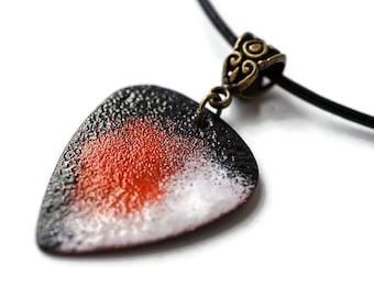 Custom Enameled Guitar Pick Necklace, Guitar Pick Necklace, Gift for boyfriend, Gift for musician