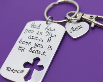 Mom - Dad - Memorial Jewelry Personalized - God has you in his arms, I have you in my heart - Remembrance Jewelry - Sympathy Gift - Rip