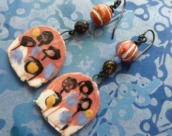 Yet Another Committee Meeting, Boho Ceramic Earrings, Avant Garde Earrings, Contemporary Art Earrings, JosephineBeads, Northernblooms