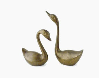 Small Brass Swan Figurines Made in India -  Brass Swan Ring Holders, His and Her Ring Holders, Brass Swan Figures, Miniature Swan Figurines