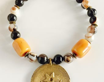 Africa Inspired Genuine Black Agate and Brass Pendant Necklace