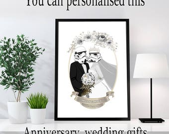 Mr and Mrs Star Wars - Bride and Groom Star Wars - Star Wars Anniversary Gift - star wars personalised wedding gift - Engagement gift
