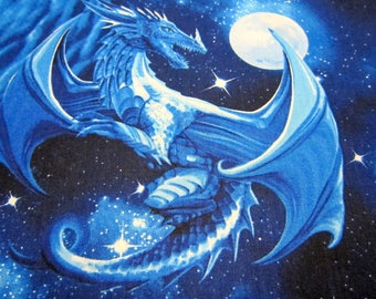 Dragon Cotton Fabric Called Blue Dragons Designed by Michael Searle for Timeless Treasures Fabrics