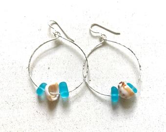Sea Glass Earrings, Puka Shell Earrings, Sterling Hoop Earrings, Aqua Sea Glass Earrings, Beachy Earrings