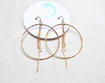 Chain Hoop Earrings Gold, Hammered Gold Hoops, Gold Chain Earrings, Large Hoop Earrings