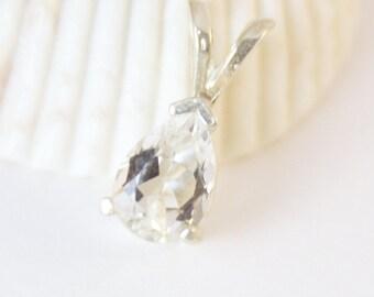 White Topaz Necklace, Topaz Pendant, Silver Necklace, Sterling Silver, Gemstone Necklace, White Topaz Jewelry, Gemstone Pendant