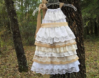 Little girls dress. Size 12m-to size 5 Made with Burlap and mutable styles of lace. Something different