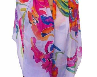 Silk Shawl LILY GARDEN ; 64in.x18.5in.; OOAK; Eco-Fashion;Art Silk Scarf;Gift for Her