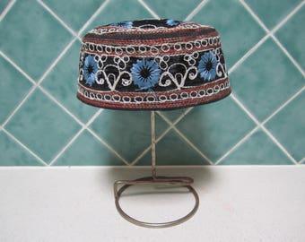 Embroidered Vintage Box Cap - Black Velvet - Indian - Hat