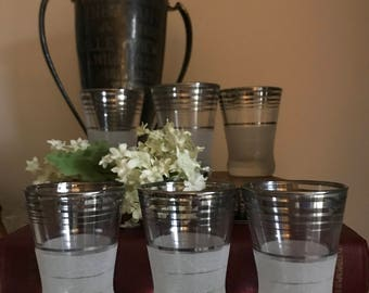 FREE SHIPPING - Set of Six Vintage Silver Rimed Shot Glasses, Frosted Bottom, Mid Century