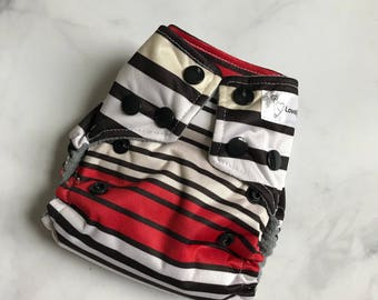 Newborn Cloth diaper, cloth diaper, all in two (ai2), all in one, cloth nappy - Racetrack Stripe