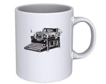 Vintage Royal Typewriter - Hand Drawn Cool - Coffee Mug - Best Gift !!!