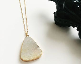 White Coral Fossil Agate Geode Triangular Pendant Long Gold Necklace - LIMITED
