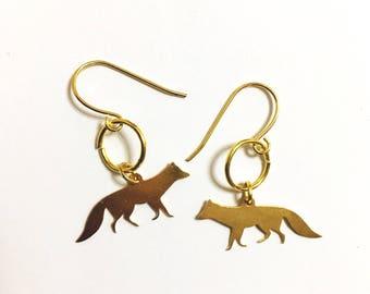 Red Fox Gold Earrings, Animal lovers Gift Souvenir, Woodlands, Little Pendant earrings