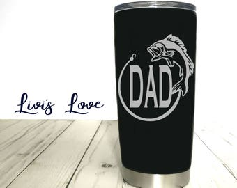 Dad gifts - Father's Day Gift for Dad Fishing Mug Dad Coffee Thermos - Fisherman Gift Engraved Stainless steel dishwasher safe gift for Dad