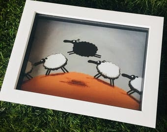 There Is Always One Of Them - 3D White Box Framed Quirky Sheep ART Print