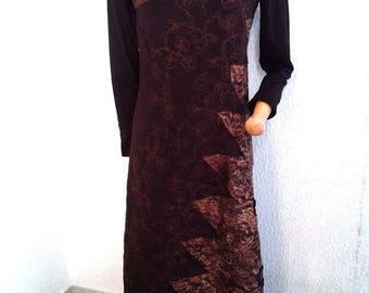 The chocolate copper taffeta and lace dress