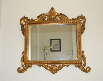 Beautiful original English antique hand carved wooden gilded wall mirror Victorian circa.1900