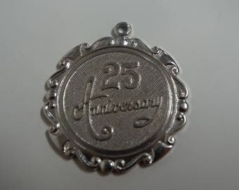 Sterling Silver 25th Anniversary Charm Pendant - FREE SHIPPING
