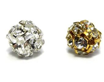 8x Round Rhinestone Beads, Strass Balls 8mm - Gold or Silver/Crystal