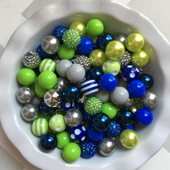 """100 {20mm} """"Seahawks: Lime Green, Royal Blue, & Silver/Gray"""" Chunky Bubble Gum Bead Themed Bead Lot **Read Item description before purchase!"""