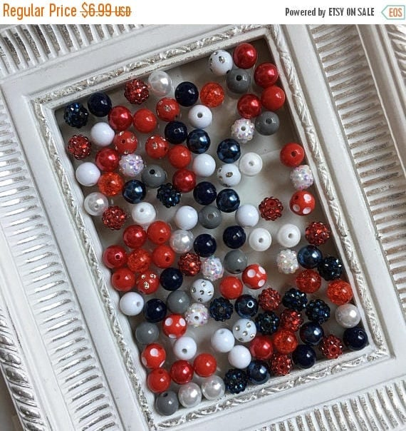 """SALE 12mm """"Patriots/Giants: Navy, Red, Gray/Silver, White"""" {100 count}  Chunky Bubble Gum Bead Wholesale Bulk Bead Lot for Necklaces or Brac"""