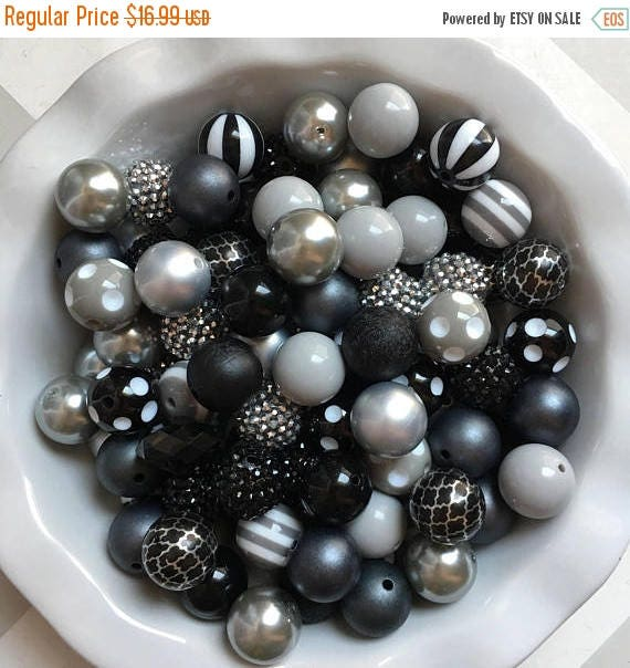 """SALE 100 {20mm} """"Raiders: Black & Silver/Gray"""" Chunky Bubble Gum Bead Themed Bead Lot **Read Item description before purchase!"""