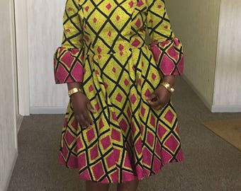 African fabric dress and head wrap