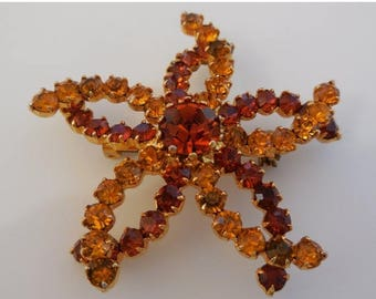 20% OFF SALE Vintage Topaz and Light Topaz Flower Brooch Pin Gold Tone