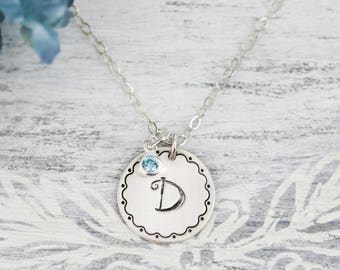 Initial Necklace, Sterling Silver Initial Necklace, Simple Sterling Monogram Necklace, Simple Personalized Necklace, Charm Necklace