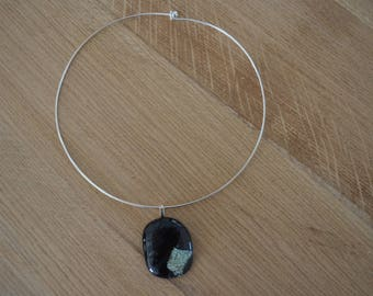 black and silver on charcoal glass pendant and neck