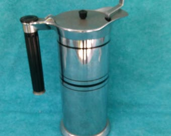 Sunbeam and Chicago Flexible Shaft Co. 1930's Art Deco Banded Coffee Server With Rare Inner Brewing Basket