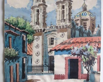 Watercolor Painting - Signed Navarro - Santa Prisca Church in Taxco Guerrero Mexico