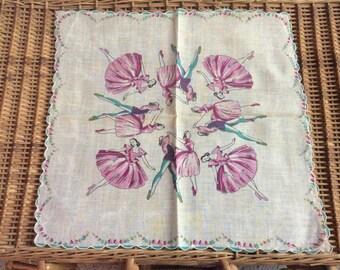Ballerina Dancer Vintage Hankie Hanky BEAUTIFUL Handkerchief