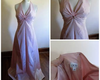 80s Pink Dress, Halter Dress, Dusty Rose, Bridesmaid, Prom, Cache, Size 8, Special Occasion, Gown, Light Pink, Womens Vintage Clothing