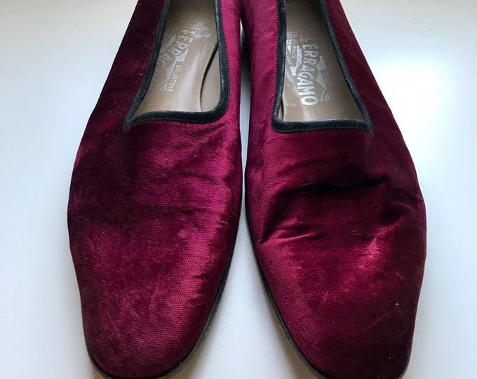 Featured listing image: 60s Burgandy Loafers, Salvatore Ferragamo, Mens Loafers, Collection, Velvet, Smoking Loafers, Size 11. 5 B, 1960s, Made in Italy
