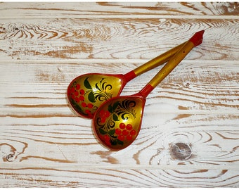 Set: Khokhloma, wooden spoons / Набор, хохлома, деревянные ложки